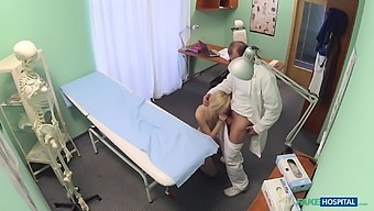 Doctor decides that he needs to examine his blonde patient with his dick