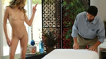 Aiden Ashley has massage stud give her a happy ending