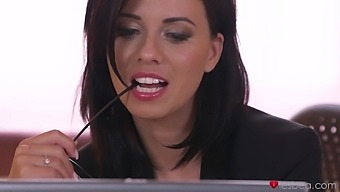 Amazing lesbian sex on the office table - Nicole Vice and Vicky Love
