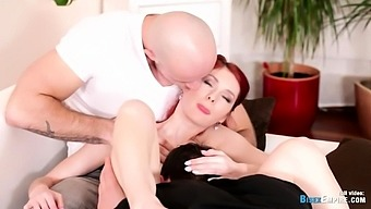 Horny redhead watches two guys jerk off