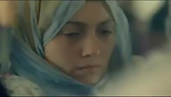 Arab woman in hijab in the bus