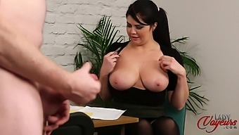 Busty secretary Kylie K loves flashing her tits for her naked boss