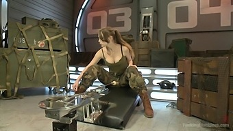 Army girl Alaina Fox strips and penetrates herself with a fuck machine
