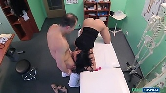 Doctors office hidden cam records Eva Ann sucking her doctor off