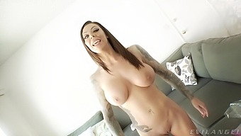 Tattooed pornstar Karma RX gets ready for filming in the backstage