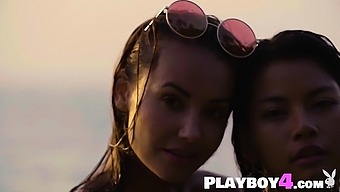 Sexy teen babe enjoyed on the beach with her friend