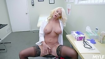 Female doctor enjoys a break by masturbating hard