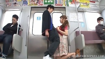 Nobody can give a blowjob on the train like this slut