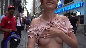 Jeny Smith flashing her perfect tits to strangers on the street while taking a selfie.