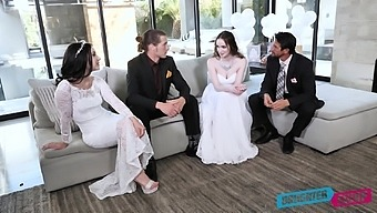 Two sexy brides swap step daddies and enjoy crazy foursome sex on wedding day