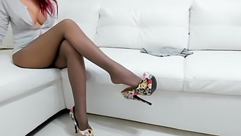 Amazing whorish lady in nylon pantyhose is eager to pet herself with toy