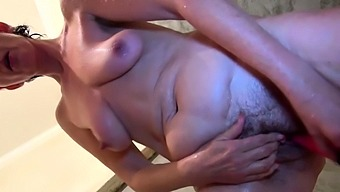 Busty Granny went all alone in the Toilet
