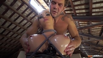Dominate guy ties her up, oils her up and fucks her