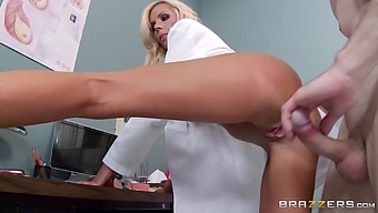 Blonde doctor Nina Elle with big fake boobs fucked on the bed