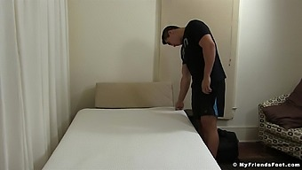 Handsome guy falls a sleep in his pervert friend's house. HD