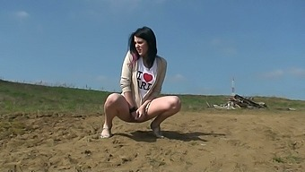 This lewd whore doesn't need a toilet to pee and she is a nature freak