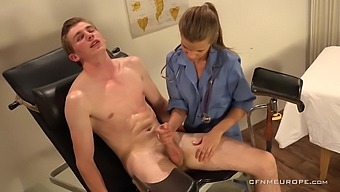 Kinky doctor introduces a young man to anal play and that woman is hot