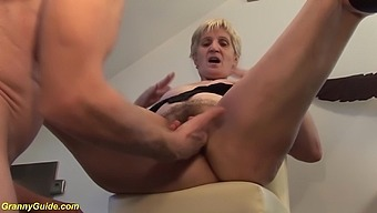 Hairy bush 83 years old big boob granny enjoys rough big cock kitchen sex