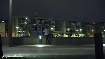 Deep Evening - Russian Jeny Smith walks in public in transparent pantyhose without panties.