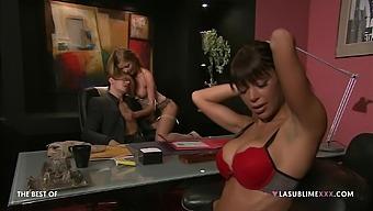 Hardcore threesome with pornstars Elena Grimaldi and Lily Love