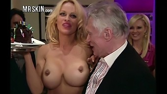 Appetizing busty blonde MILF Pamela Anderson flashes her nice hard nipples