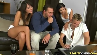 Slutty brunettes have a foursome with big cocks