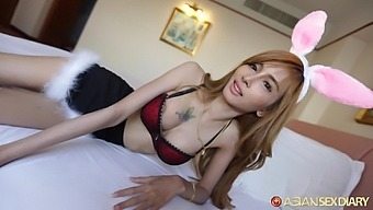 Kinky busty Asian chick Puy gets hairy pussy not only licked but fucked well