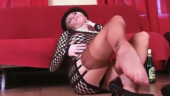 This hot slut in sexy pantyhose is horny and really wishes you were here