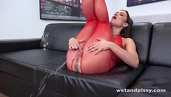 Horny lady in red fishnet stuff Alyssa Reece goes crazy about masturbation
