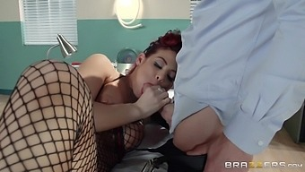 Redhead slut Ryder Skye in fishnet stockings rides her doctor