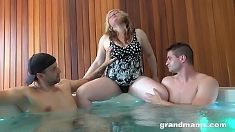 Chubby mature lady Marta is having crazy sex fun with two young guys