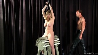 Balls deep mouth and pussy fucking for tied up Adrianna Nicole
