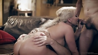 Son and dad enjoy fucking super juggy and big bottomed milf Christie Stevens
