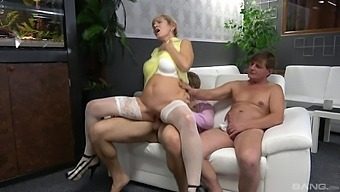 Wild MMF bisexual threesome with dirty dudes and mature Yvonne