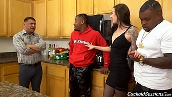 Cuckold dude is watching his wife getting blacked on the kitchen table