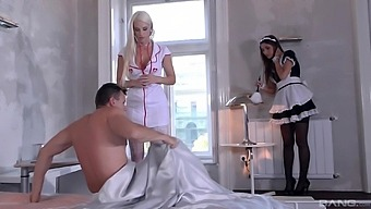 Sensual woman shares hubby with the curvy ass maid