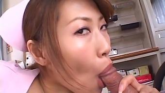 Amateur video of Japanese nurse Aya Sakurai giving a blowjob