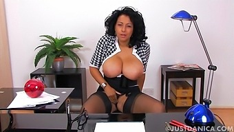 Solo mature mommy Danica Collins takes off her panties to tease