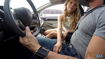 Quickie fucking in the car ends with a cumshot for Alina West