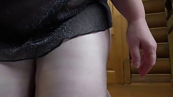 Anal masturbation with a chair leg.